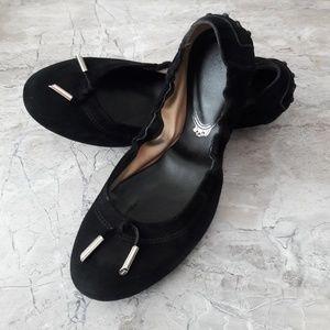 TOD's Black Suede Ballet Flats